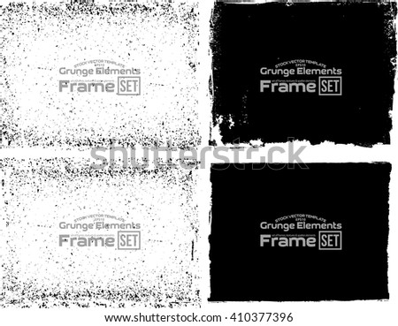 Grunge frame texture set - Abstract design template. Isolated stock vector illustration  #410377396