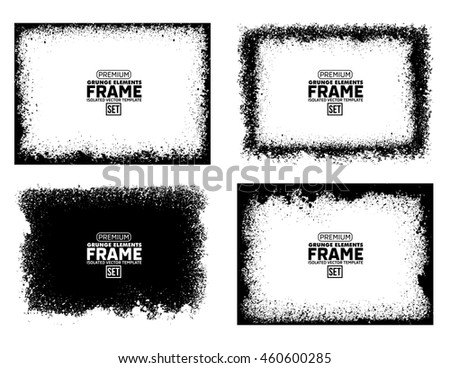 Grunge frame texture set - Abstract design template. Isolated stock vector illustration  #460600285