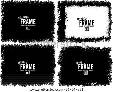 Grunge frame texture set - Abstract design template. Isolated stock vector set - easy to use #367847531