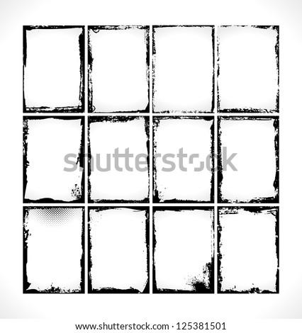 Grunge Frames Collection. Vector Design Illusration.