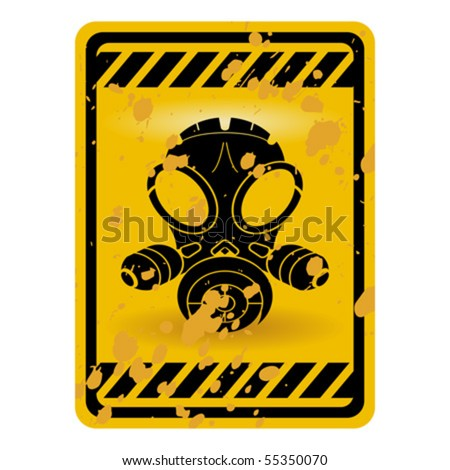 Grunge gas mask warning sign isolated over white