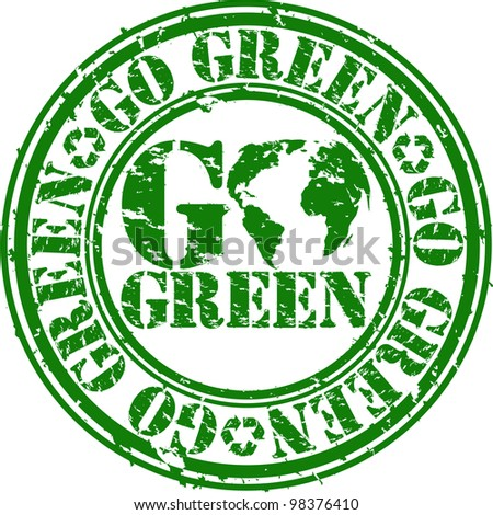 Grunge go green rubber stamp, vector illustration