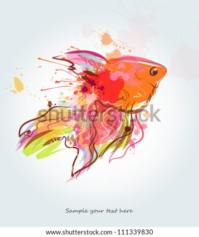 grunge golden fish