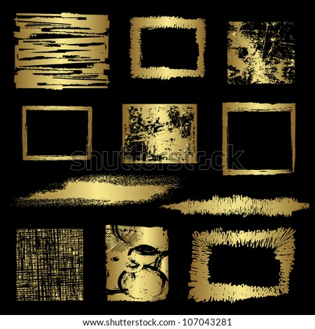 Grunge golden frames vector