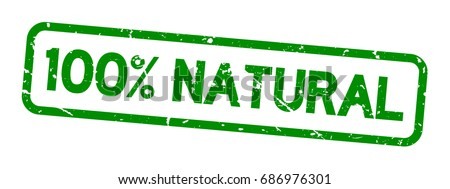 Grunge green 100 percent natural square rubber seal stamp on white background