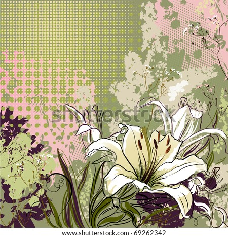 grunge greeting-card with decorative white lilies - stock vector