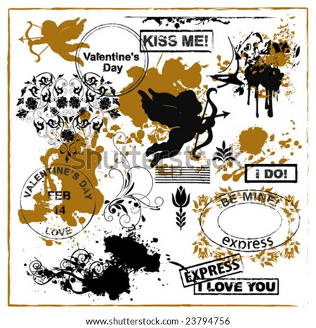 Grunge grunge design elements for Valentine's day. Vector images scale to any size