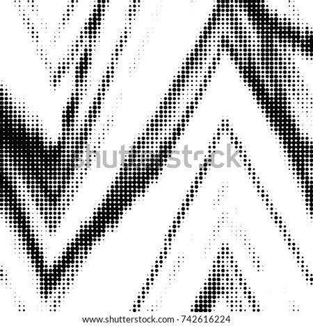 Grunge halftone black and white dots texture background. Spotted vector Abstract Texture #742616224