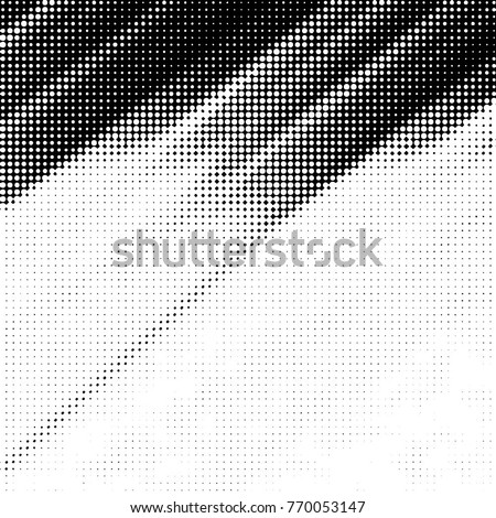 Grunge halftone black and white dots texture background. Spotted vector Abstract Texture  #770053147