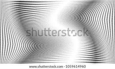 Grunge halftone dots pattern texture background. Black pixels. Modern dotted vector illustration. Abstract wavy lines. Points backdrop. Grungy spotted pattern. Wide image