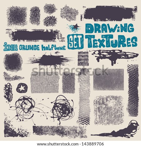 grunge halftone drawing textures set. vector illustration