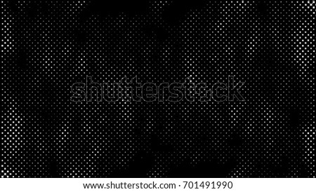 Grunge Halftone Vintage Vector Background. Ink Dots Texture Design Element. Black-White Abstract Dirty, Damaged, Dotted, Spotted, Stained Circles Effect. Aging Dots Overlay. Round Particles Backdrop