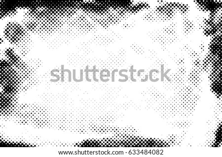 Grunge Halftone Vintage Vector Background. Ink Dots Texture Design Element. Easy To Create Abstract Dirty, Damaged,  Dotted, Spotted, Circles Effect. Aging Dots Overlay. Round Particles Backdrop  #633484082