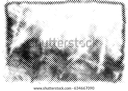 Grunge Halftone Vintage Vector Background. Ink Dots Texture Design Element. Easy To Create Abstract Dirty, Damaged,  Dotted, Spotted, Circles Effect. Aging Dots Overlay. Round Particles Backdrop  #634667090