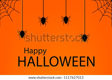 Grunge Halloween background with black spiders,  vector illustration,EPS10 #1117627013