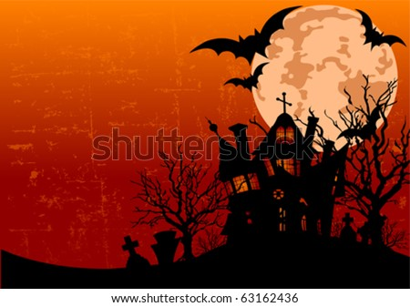 Grunge Halloween background with haunted house, bats and full moon - stock vector