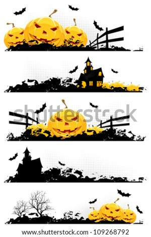 Grunge Halloween Banner with Pumpkins Bats and Haunted House