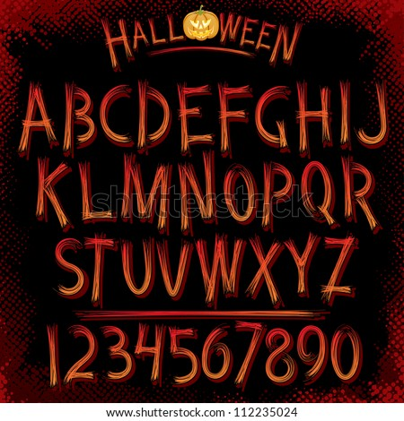 Grunge Halloween Font. Vector Collection of Latin Letters