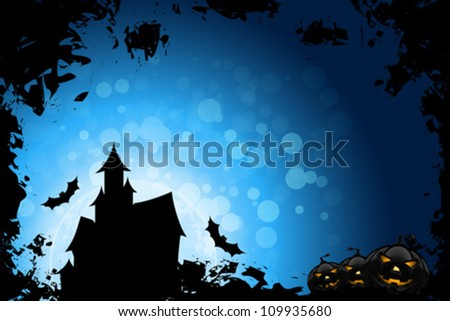 Grunge Halloween Party Background with House Pumpkins and Bats
