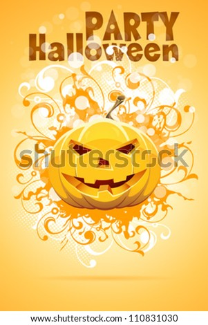 Grunge Halloween Party Background with Pumpkin and Floral