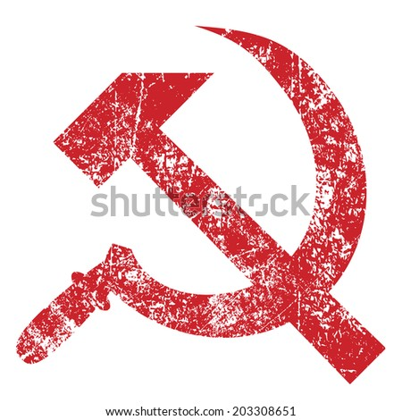 Grunge hammer and sickle isolated on white background, vector illustration