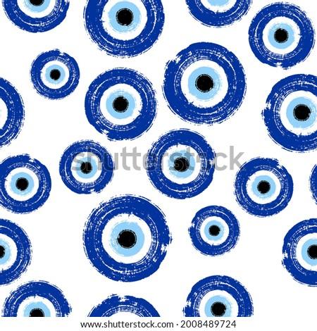 Grunge hand drawn blue Turkish evil eye seamless. Greek evil eye. Symbol of protection in Turkey, Greese, Cyprus. Blue Turkish Fatima's Eye. Amulet from evil eye. Nazar Boncugu. Magic item attribute