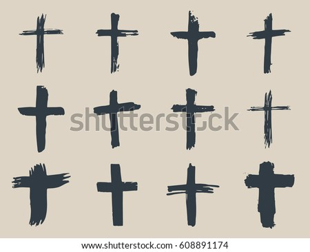 Grunge hand drawn cross symbols set. Christian crosses, religious signs icons, crucifix symbol vector illustration