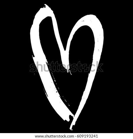 grunge hand drawn ink heart