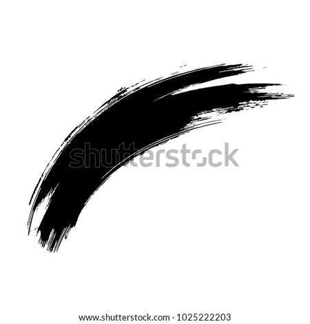Grunge hand drawn paint brush. Curved brush stroke vector illustration