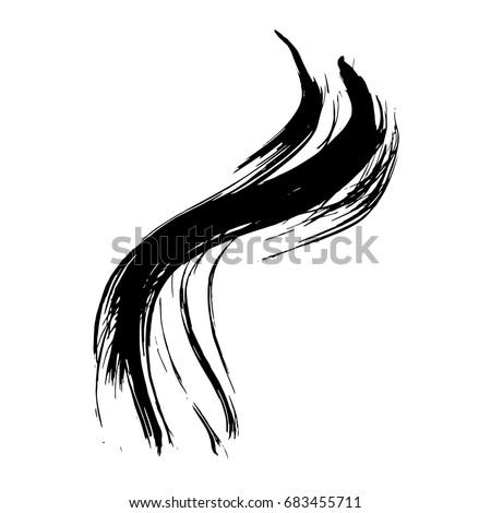 Grunge hand drawn paint brush. Curved brush stroke vector illustration