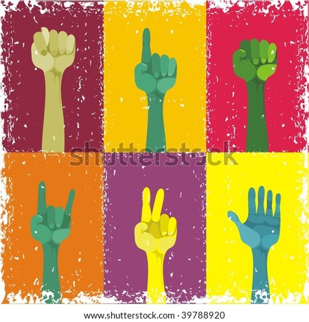 grunge hands up, different gestured, different colours