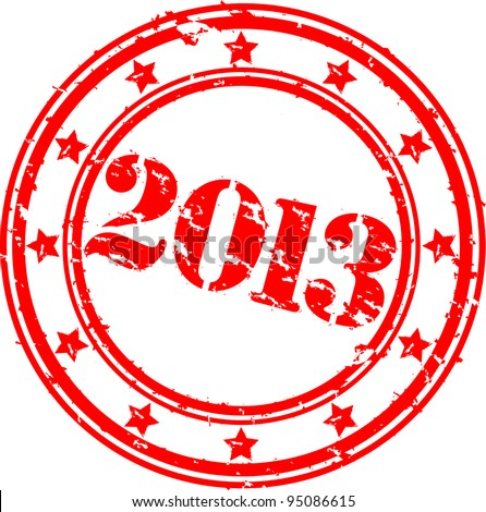 Grunge Happy New 2013 Year rubber stamp, vector illustration
