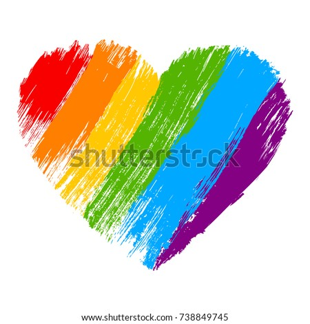 grunge heart in rainbow color