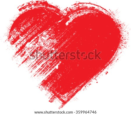 grunge heart  red  heart shape
