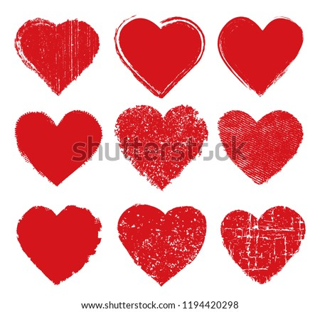 Grunge hearts design.Vector heart icons.