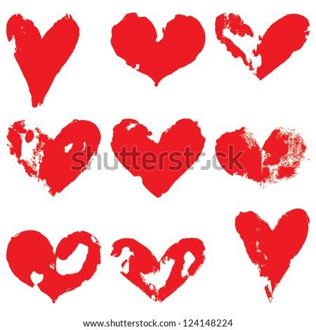 grunge hearts vector set