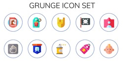 grunge icon set. 10 flat grunge icons.  Collection Of - wanted, vestige, tag, jolly roger, heavy metal, spray paint, punk