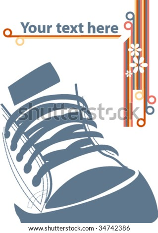 Grunge illustration with sneaker and stripes - stock vector