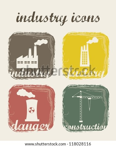 grunge industry icons over beige background. vector illustration - stock vector