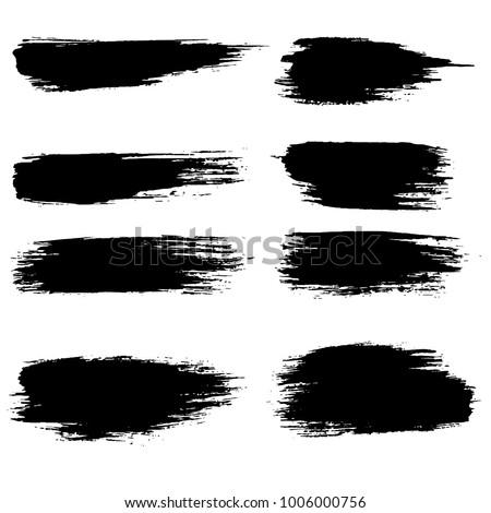 Grunge ink brush strokes set. Freehand black brushes. Handdrawn dry brush black smears. Modern vector illustration. #1006000756