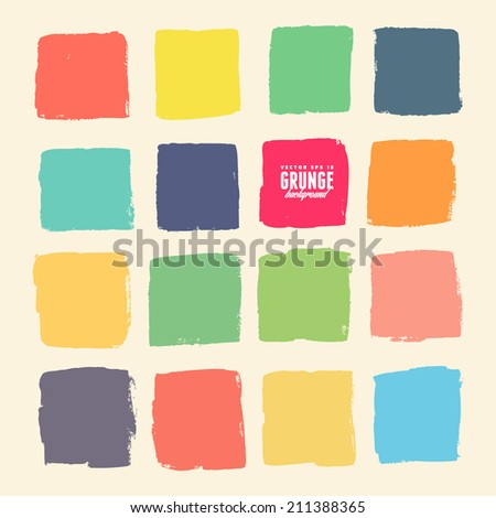Grunge ink hand-drawn colorful squares