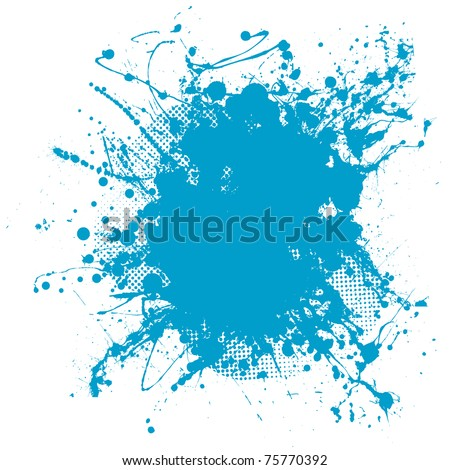 Grunge ink splat background blob with halftone dots