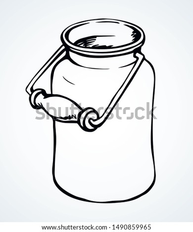 Grunge iron bin tank on light paper backdrop text space. Outline black ink hand drawn past steel tin health cow churn tare logo pictogram emblem design in art doodle engrave print style. Close up view