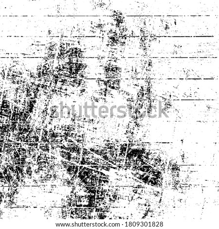 Grunge is black and white. Texture of scratches, chips, cracks. Pattern of old worn surface. Abstract monochrome background Foto stock ©