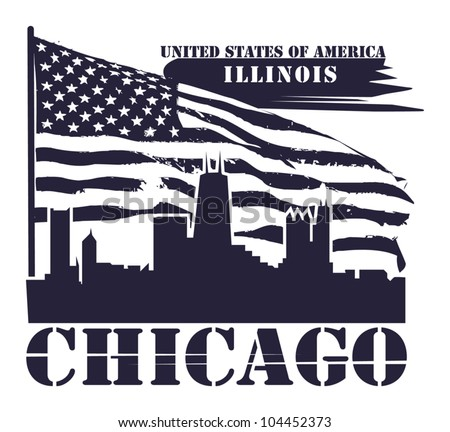 Grunge label with name of Illinois, Chicago, vector illustration