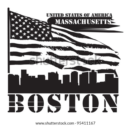 Grunge label with name of Massachusetts, Boston, vector illustration