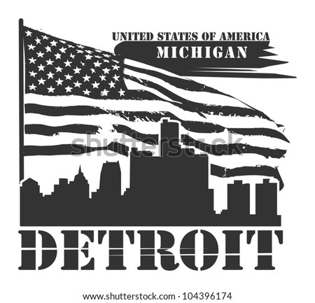 Grunge label with name of Michigan, Detroit, vector illustration