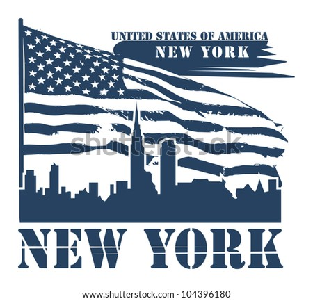 Grunge label with name of New York, vector illustration