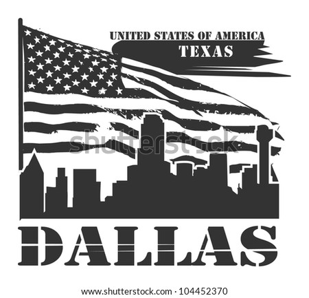 Grunge label with name of Texas, Dallas, vector illustration