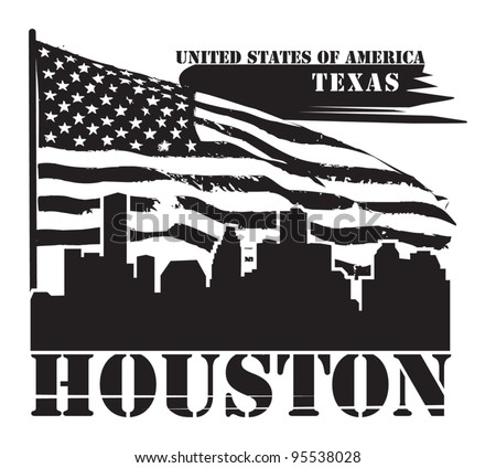 Grunge label with name of Texas, Houston, vector illustration